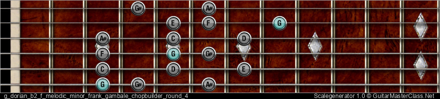 G Dorian b2 F Melodic Minor Frank Gambale Chopbuilder Round 4 9