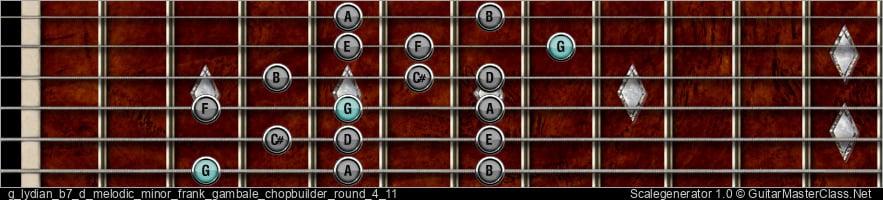 G Lydian b7 D Melodic Minor Frank Gambale Chopbuilder Round 4 11