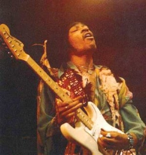 Jimi Hendrix with his fender Strat