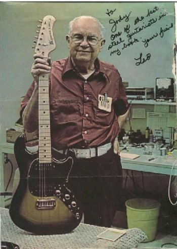 Leo Fender with a Stratocaser model