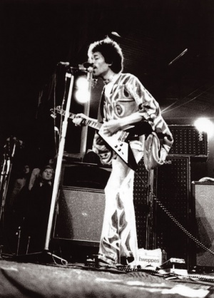 Jimi with a flying V at isle of wight 1970 (rare)